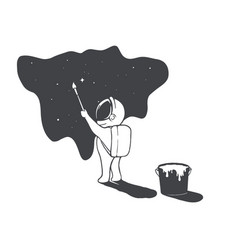 Astronaut artist draws stars in universe vector