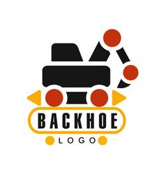 Backhoe logo excavator equipment service label vector
