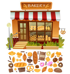 Bakery shop facade vector