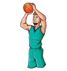 basketball player is ready to throw ball on vector image