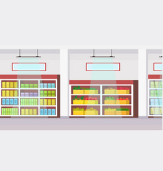 big grocery shop supermarket interior empty no vector image