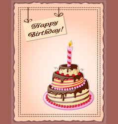 Birthday card with cake tier candle cherry and vector
