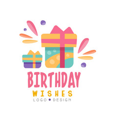 birthday wishes logo design colorful creative vector image