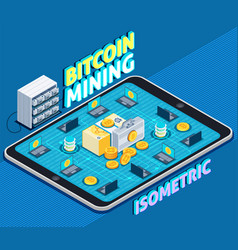 Bitcoin mining isometric composition vector