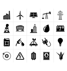 Black Power energy and electricity Source icons vector