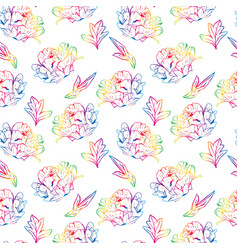 Blossoming peony with leafs seamless pattern vector
