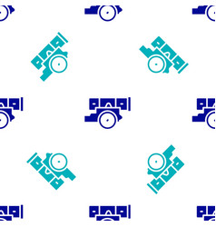 Blue cannon icon isolated seamless pattern on vector