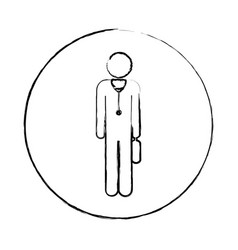 Blurred circular frame silhouette pictogram male vector