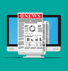 Business news on screen of computer monitor vector