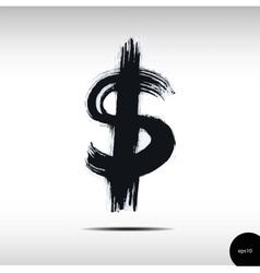 Calligraphic watercolor dollar vector