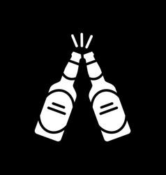 Cheers with beer bottles dark mode glyph icon vector