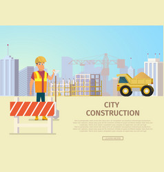 city construction landing page template vector image