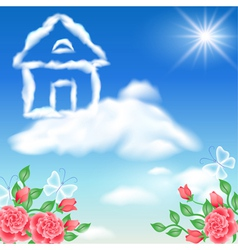 Cloud house in the sky vector image vector image
