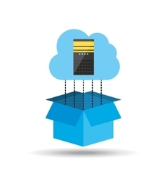 Cloud technology tower cpu connected design vector