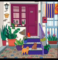 coloring picture cats vector image