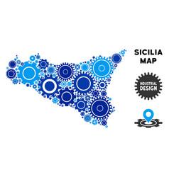 Composition sicilia map of gears vector