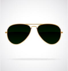 Cool aviator sunglasses black lenses gold frames vector
