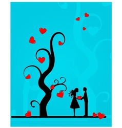 couple under a tree vector image