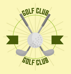 crossed golf club and ball sport banner vector image
