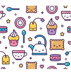 cute pastel kawaii seamless pattern tea party vector image