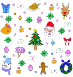 Doodle of christmas set element vector image