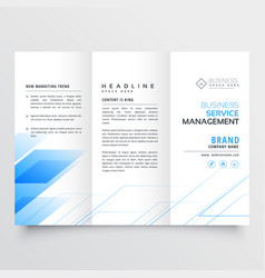 elegant blue business tri-fold brochure flyer vector image