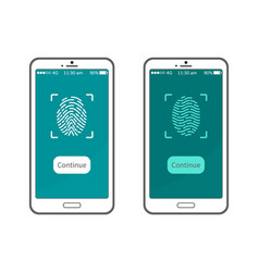 fingerprint smartphone display personal identity vector image