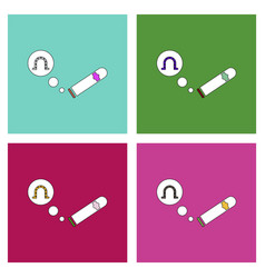 Flat icon design collection cigar and horseshoe vector