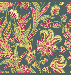 Flower tile pattern floral oriental ethnic vector