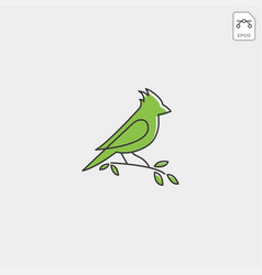 Flying humming bird line art logo template icon vector