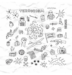 Freehand terrorism doodles on crumpled paper vector