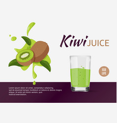 Fresh kiwi design template for ads bright fruits vector