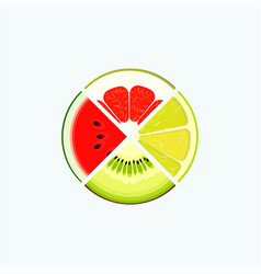 Fruit and berry organic food and juice round logo vector