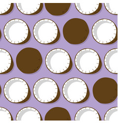 fruit seamless pattern coconut with shadow vector image