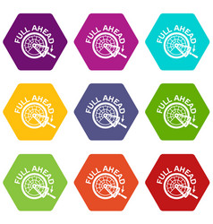 full ahead icons set 9 vector image