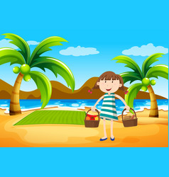 girl having picnic on the beach vector image