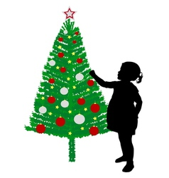 girl putting decoration on christmas tree vector image