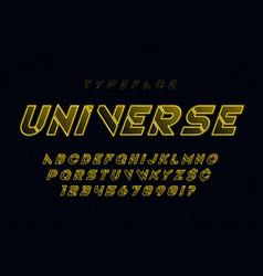 Glowing futuristic sci-fi alphabet creative vector