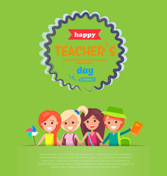 Happy teachers day with text vector