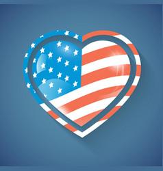 Heart with usa flag vector