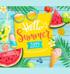 Hello summer 2019 yellow card or banner vector
