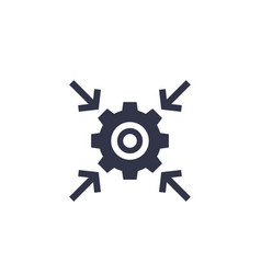 Integration process technology icon with cogwheel vector