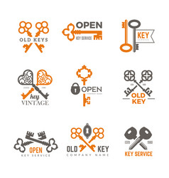 key logo real estate padlocks emblems and badges vector image