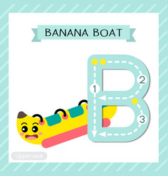 Letter b uppercase tracing banana boat vector