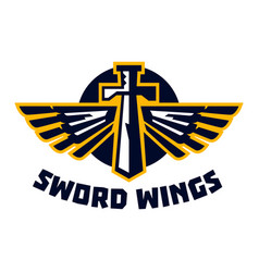 Logo sword wings steel arms the emblem on the vector