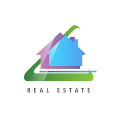 logo template real estate apartment condo house vector image