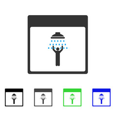 Man shower calendar page flat icon vector