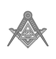 masonic freemasonry emblem icon logo on white vector image