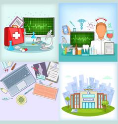 Medicine banner set cartoon style vector