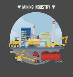 Mining industry excavator vector